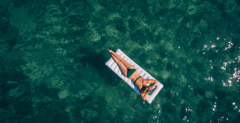 woman on a floating raft