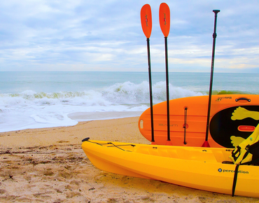 kayak equipment on the beach