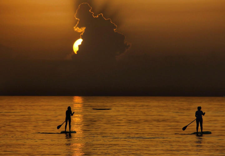 two people paddleboarding at night on the ocean