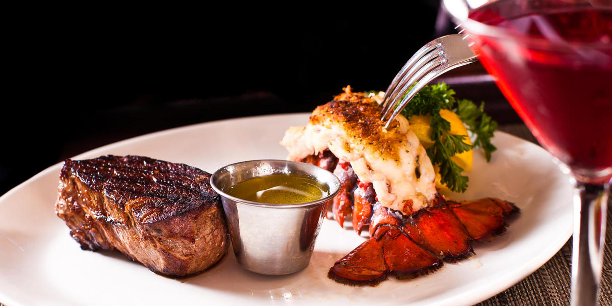 Steak and lobster dish